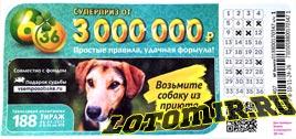Проверить билет Лотерея 6 из 36 188 тираж